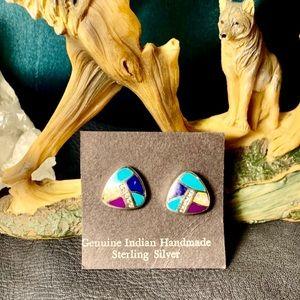 Native American sterling natural gem inlay posts